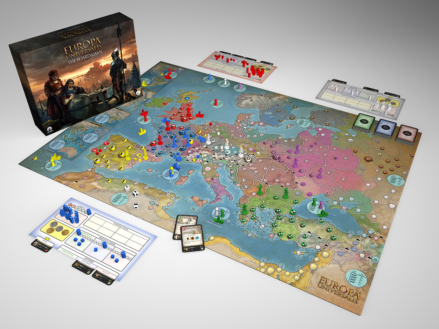 Europa Universalis board game 3D rendered image