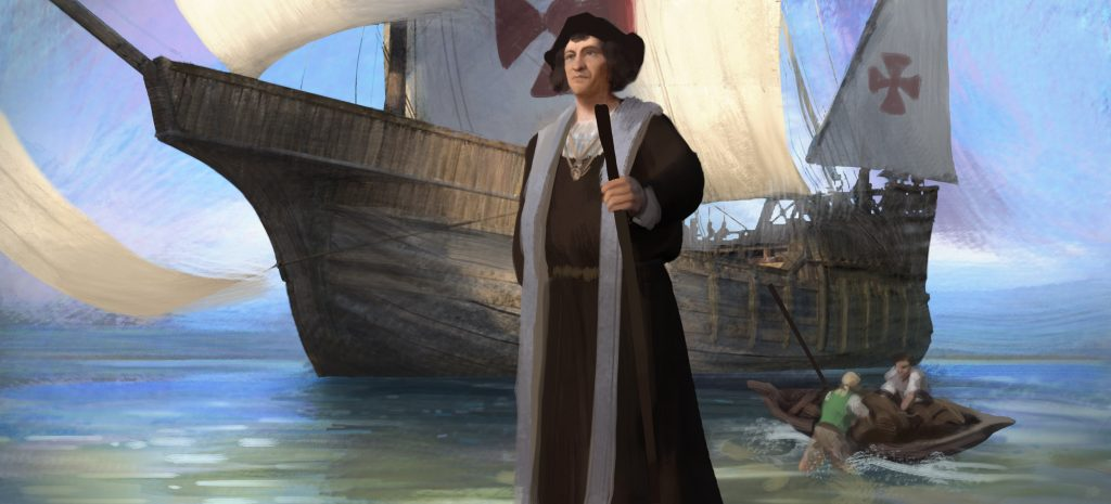 Christopher Columbus discovers America. Illustration: Olly Lawson